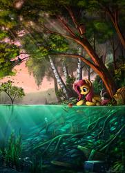 Size: 1820x2520 | Tagged: safe, artist:yakovlev-vad, angel bunny, fluttershy, lyra heartstrings, bird, fish, pegasus, pony, rabbit, sea pony, animal, apple, bird house, female, forest, mare, scenery, scenery porn, seapony lyra, seaweed, tree, water