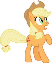 Size: 4886x5996 | Tagged: absurd res, applejack, artist:synch-anon, artist:twiforce, raised hoof, safe, shocked, simple background, solo, transparent background, vector