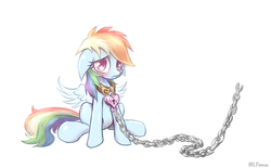 Size: 807x500 | Tagged: safe, artist:mlpanon, rainbow dash, bondage, chained, chains, collar, floppy ears, heart, heart padlock, leash, padlock, padlocked collar, sad, simple background, solo, white background