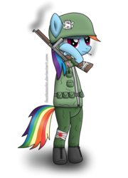 Size: 2168x3008 | Tagged: dead source, safe, artist:facelesssoles, rainbow dash, pony, bandage, bipedal, bleeding, blood, boots, cigarette, clothes, female, gun, helmet, mare, military, shoes, simple background, smoking, soldier, solo, tommy gun, transparent background, uniform, wingless, world war ii
