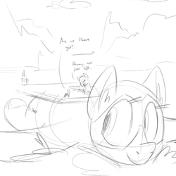 Size: 900x900 | Tagged: artist needed, safe, oc, oc only, boatpony, original species, plane pony, pony, aircraft carrier, monochrome, offspring, plane, ponified, prone, sketch, smiling