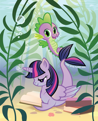 Size: 612x756 | Tagged: safe, artist:inki-drop, spike, twilight sparkle, merpony, sea pony, seahorse, book, bubble, hilarious in hindsight, looking at you, open mouth, reading, seaponified, seapony twilight, seaweed, smiling, species swap, twilight sparkle (alicorn), underwater