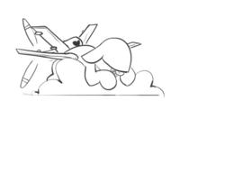 Size: 901x696 | Tagged: safe, oc, oc only, original species, plane pony, pony, predator drone, cloud, floppy ears, hiding, monochrome, plane, sharp teeth, smiling, solo