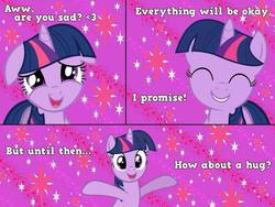 Size: 960x720 | Tagged: source needed, safe, artist:aceofponies, twilight sparkle, bronybait, comic, cute, cutie mark, eyes closed, female, floppy ears, grin, happy, heart, hug request, imma snuggle you, looking at you, meme, open mouth, reaction image, smiling, solo, twiabetes