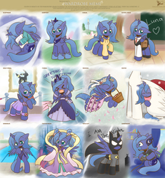 Size: 3366x3638 | Tagged: safe, artist:howxu, princess celestia, princess luna, oc, oc:fausticorn, pony, umbreon, gamer luna, batman, bipedal, chang'e, chinese, chinese mythology, clothes, controller, costume, cute, dc comics, dress, fangs, filly, headset, hoodie, howxu is trying to murder us, i am the night, lunabetes, meme, mythology, one-piece swimsuit, pokémon, s1 luna, school uniform, swimming pool, swimsuit, traditional royal canterlot voice, wardrobe meme, weapons-grade cute, woona, xd