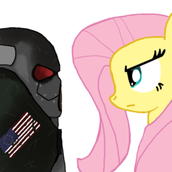 Size: 700x700   Tagged: safe, artist:wolfabio, fluttershy, crossover, fallout, fallout 2, frank horrigan, staring contest