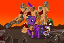 Size: 750x500 | Tagged: safe, artist:zatgeneral, spike, twilight sparkle, alicorn, pony, tau, battle suit, crossover, female, fire warrior, kroot, mare, tau empire, twilight sparkle (alicorn), warhammer (game), warhammer 40k, xv8 crisis battlesuit