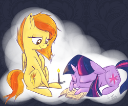 Size: 1800x1500 | Tagged: safe, artist:lilfaux, spitfire, twilight sparkle, book, candle, female, lesbian, shipping, sleeping, twifire