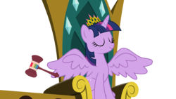 Size: 5989x3369 | Tagged: absurd res, alicorn, artist:synch-anon, artist:twiforce, eyes closed, female, gavel, mare, pony, safe, simple background, solo, trade ya, transparent background, twilight sparkle, twilight sparkle (alicorn), vector