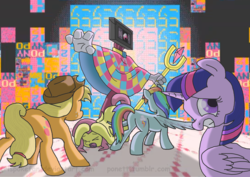Size: 3508x2480 | Tagged: safe, artist:crispokefan, applejack, fluttershy, rainbow dash, twilight sparkle, oc, oc:javis, alicorn, alien, pony, super lesbian horse rpg, antagonist, female, indie game, javis, mare, mlp fangame villain, oc villain, reference, twilight sparkle (alicorn)