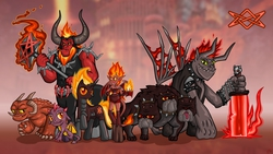 Size: 1920x1080   Tagged: safe, artist:alevgor, cerberus (character), lord tirek, cerberus, demon, demon pony, diamond dog, dog, imp, succubus, arch devil, collar, crossover, dog collar, fire, heroes of might and magic, inferno, mane of fire, multiple heads, nightmare, pit lord, ponified, spiked collar, sword, three heads, weapon