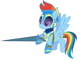 Size: 3920x3000   Tagged: safe, artist:ruinedomega, lancer, rainbow dash, alternate universe, armor, flying, lance, ponyscape, solo, vector
