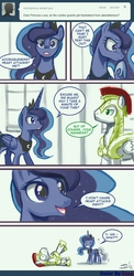 Size: 501x1024 | Tagged: artist:duna364, artist:johnjoseco, ask princess molestia, comic, cute, daaaaaaaaaaaw, heart attack, lunabetes, princess luna, royal guard, safe, tempting fate, tumblr