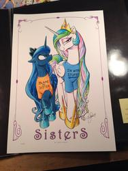 Size: 768x1024   Tagged: safe, artist:andypriceart, princess celestia, princess luna, alicorn, pony, andy price, andy you magnificent bastard, angry, bedroom eyes, blame my sister, clothes, duo, female, frown, glare, i'm with stupid, looking at you, magic shirt, mare, raised hoof, shirt, smiling, smirk, t-shirt, traditional art, trollestia, unamused