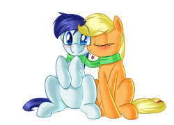 Size: 1024x737   Tagged: safe, artist:january3rd, applejack, oc, oc:constance everheart, blushing, canon x oc, clothes, everjack, heart, kissing, scarf, shared clothing, shared scarf, shipping, simple background, transparent background