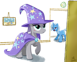 Size: 900x735 | Tagged: safe, artist:foudubulbe, maud pie, trixie, pony, comic:damp rocks, accessory swap, blushing, female, hat, hat swap, lesbian, mauxie, raised hoof, shipping, the great and powerful, trixie's cape, trixie's hat