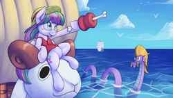 Size: 1920x1080 | Tagged: safe, artist:php87, blossomforth, steven magnet, blossomforth is best pony, crossover, going merry, meat, monkey d luffy, one piece, pirate, sea king, straw hat