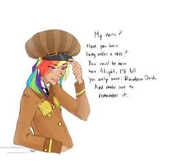 Size: 800x758   Tagged: dead source, safe, artist:demdoodles, rainbow dash, human, alternate universe, aviator, dialogue, diplomat-verse, fashion, hat, humanized, simple background, solo, white background
