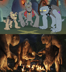 Size: 1068x1164 | Tagged: safe, edit, edited screencap, screencap, fido, rover, spot, tom, diamond dog, a dog and pony show, an unexpected journey, bert, clothes, comparison, ei, fire, hub logo, the hobbit, troll, william