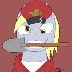 Size: 500x500 | Tagged: safe, artist:facade, derpy hooves, pegasus, pony, derpy soldier, female, mare, shovel, soldier, solo, spray, team captain, team fortress 2