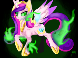 Size: 680x512 | Tagged: safe, artist:galladexd, princess cadance, queen chrysalis, changeling, changeling queen, disguise, disguised changeling, fake cadance, fangs, female, grin, solo