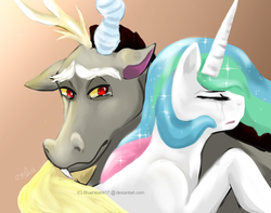 Size: 1023x808 | Tagged: safe, artist:blueheart417, discord, princess celestia, alicorn, draconequus, pony, crying, dislestia, female, hug, male, sad, shipping, straight