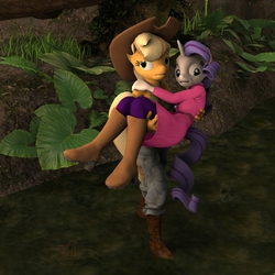 Size: 2000x2000 | Tagged: safe, artist:tahublade7, applejack, rarity, anthro, plantigrade anthro, 3d, annoyed, boots, carrying, clothes, coat, daz studio, jeans, mud, scared, skull, swamp