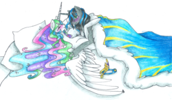 Size: 1024x598 | Tagged: artist:fountainstranger, blushing, celestibra, covered, female, good king sombra, king sombra, male, princess celestia, safe, shipping, straight