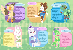Size: 1991x1362 | Tagged: safe, artist:immortaltanuki, angel bunny, gummy, opalescence, owlowiscious, tank, winona, alligator, anthro, cat, dog, owl, tortoise, animal crossing, animal crossing: new leaf, anthro pets, clothes, pet six