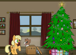 Size: 698x512 | Tagged: safe, artist:graciegirl328, applejack, winona, christmas, christmas presents, christmas tree, female, filly, filly applejack, hearth's warming, holiday, present, puppy, tree, younger