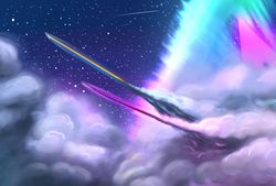 Size: 1580x1068 | Tagged: safe, artist:underpable, rainbow dash, twilight sparkle, alicorn, pony, cloud, cloudy, duo, epic, female, flying, mare, night, shooting star, shooting stars, sky, sonic rainboom, sonic xboom, speed trail, trail, twilight sparkle (alicorn), woah