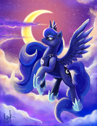Size: 2550x3300   Tagged: safe, artist:millyd13, princess luna, alicorn, absurd resolution, cloud, cloudy, crown, ethereal mane, eyelashes, female, flying, hoof shoes, horn, jewelry, moon, night, regalia, signature, solo, spread wings, wings