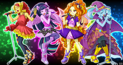 Size: 1494x800 | Tagged: safe, artist:uotapo, adagio dazzle, sunset shimmer, trixie, twilight sparkle, equestria girls, rainbow rocks, armpits, boots, clothes, eyes closed, feet, female, hat, looking at you, microphone, one eye closed, open mouth, ponied up, pony ears, sandals, skirt