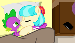 Size: 1371x784 | Tagged: safe, coco pommel, spike, bed, cocospike, kissing, love, shipping, spikelove