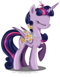 Size: 1312x1670 | Tagged: safe, artist:tiffanymarsou, part of a set, twilight sparkle, alicorn, pony, alternate hairstyle, beautiful, crown, eyes closed, female, flower, flower in hair, horn, jewelry, mare, may festival, regalia, simple background, solo, tiara, transparent background, twilight sparkle (alicorn), wings