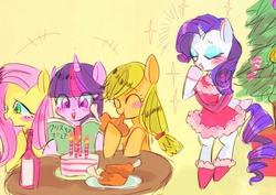 Size: 720x509 | Tagged: safe, artist:gebomamire, applejack, fluttershy, rarity, twilight sparkle, christmas tree, clothes, pixiv, ponies eating meat, tree