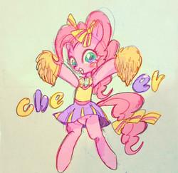 Size: 600x583 | Tagged: safe, artist:gebomamire, pinkie pie, rainbow falls, cheerleader, cheerleader pinkie, skirt, solo