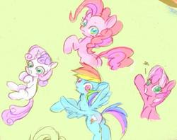 Size: 600x474 | Tagged: safe, artist:gebomamire, cheerilee, pinkie pie, rainbow dash, sweetie belle