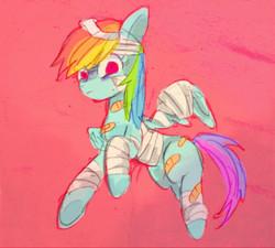 Size: 600x540 | Tagged: safe, artist:gebomamire, rainbow dash, rainbow falls, bandage, bandaid, feignbow dash, solo