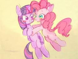 Size: 600x458 | Tagged: safe, artist:gebomamire, pinkie pie, twilight sparkle, alicorn, pony, female, hug, mare, twilight sparkle (alicorn)