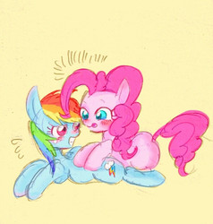 Size: 588x617 | Tagged: safe, artist:gebomamire, pinkie pie, rainbow dash, blushing, cute, dashabetes, diapinkes, female, glomp, gritted teeth, hug, lesbian, pinkiedash, scared, shipping, simple background, surprised, tongue out