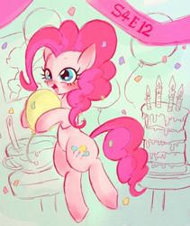 Size: 540x640 | Tagged: safe, artist:gebomamire, pinkie pie, pinkie pride, balloon, cake, hoof hold, solo