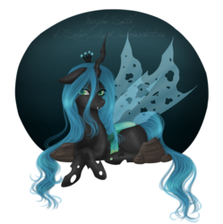 Size: 1024x1030 | Tagged: dead source, safe, artist:oosolareclipseoo, queen chrysalis, changeling, changeling queen, fangs, female, solo, transparent wings, wings