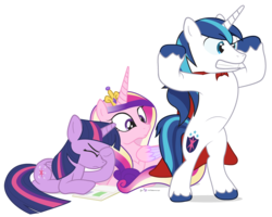 Size: 950x760 | Tagged: safe, artist:dm29, princess cadance, shining armor, twilight sparkle, alicorn, pony, book, cape, clothes, eyes on the prize, facehoof, female, mare, simple background, transparent background, trio, twilight sparkle (alicorn)