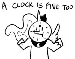 Size: 300x238 | Tagged: safe, artist:egophiliac, princess luna, :t, a cat is fine too, clock, meme, monochrome, shrug, shrugpony, solo