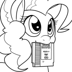 Size: 600x600 | Tagged: dead source, safe, artist:reiduran, pinkie pie, lineart, monochrome, mouth hold, nintendo entertainment system, silver surfer, smiling, solo, this will end in tears