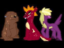 Size: 1024x768 | Tagged: safe, artist:ferrokiva, clump, fume, garble, spear (dragon), dog, equestria girls, dogified, equestria girls-ified, species swap