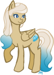 Size: 323x443 | Tagged: safe, artist:princess-madeleine, oc, oc only, oc:bluebell breeze, pegasus, pony, cute, cutie mark, female, mare, smiling, solo