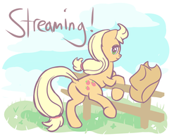 Size: 1280x989 | Tagged: applejack, artist:megaherts, dock, looking at you, looking back, plot, safe, text
