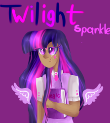 Size: 624x699 | Tagged: safe, artist:baid-woo, twilight sparkle, human, floating wings, humanized, smiling, smirk, solo, twilight sparkle (alicorn), winged humanization